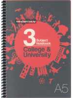 UC02246 Unicorn Spiral Bound 3 Subject Note Book College & University (148mm X210mm) A5