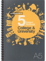 UC02248 Unicorn Spiral Bound 5 Subject Note Book College & University (148mm X 210mm) A5