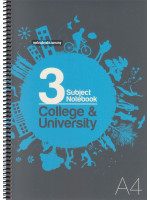 UC02253 Unicorn Spiral Bound 3 Subject Note Book College & University (210 X 297mm) A4
