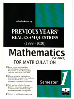 Previous Years' Real Exam Questions (1999-2020) Mathematics (Science) For Matriculation Semester 1