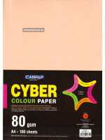 A4 Cyber Colour Paper 80 GSM 100 Sheets  (5 Mixed Colours)
